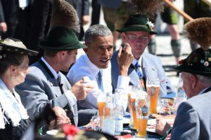 Barack Obama with white beer and three Mountain Snipers