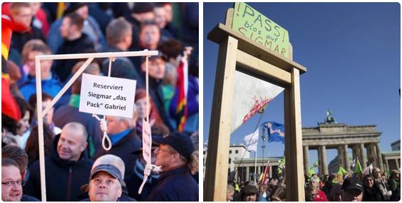Galgen bei Pegida, Guillotine bei Anti-TTIP