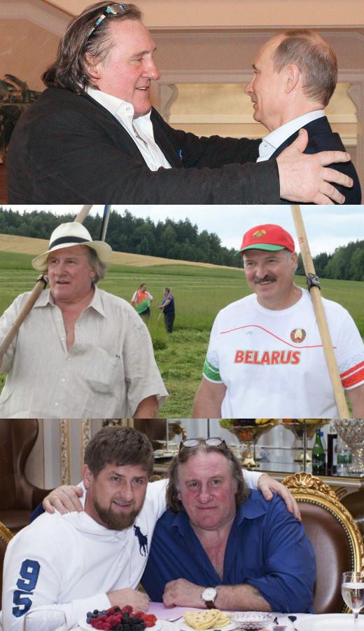 Depardieu mit Putin. Depardieu mit Lukaschenko. Depardieu mit Kadyrow.