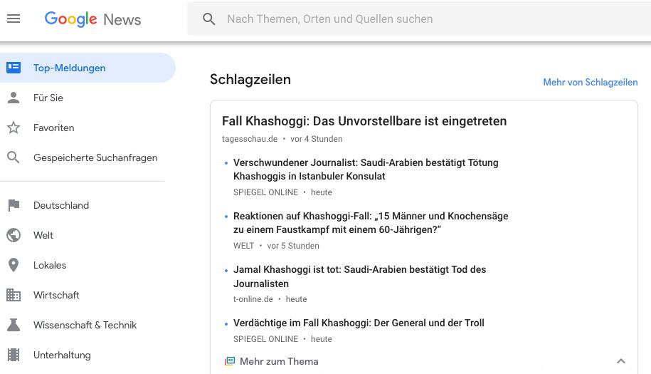 Jamal Khashoggi auf Platz 1 von Google News